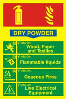 Fire extinguisher composite - Dry powder - PHO 200 x 300mm 1.3 mm rigid Photoluminescent s/a board