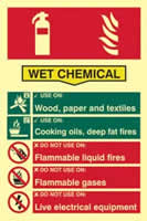 Fire extinguisher composite - Wet chemical - PHO 200 x 300mm 1.3 mm rigid Photoluminescent s/a board