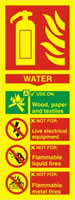 Fire extinguisher composite - Water - PHO 75 x 200mm 1.3 mm rigid Photoluminescent s/a board