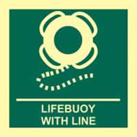 Lifebuoy with line - PHS 150 x 150mm Photoluminescent s/a label