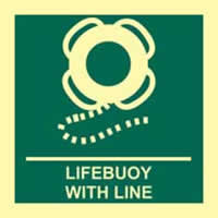 Lifebuoy with line - Photoluminescent 150 x 150mm