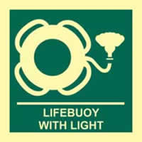 Lifebuoy with light - Photoluminescent 150 x 150mm