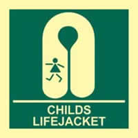 Child s lifejacket - PHS 150 x 150mm Photoluminescent s/a label