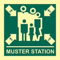 Muster station - Photoluminescent 150 x 150mm 1.3 mm rigid Photoluminescent s/a board