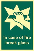 In case of fire break glass - PHS 100 x 150mm
