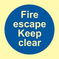 Fire escape keep clear - PHO 100 x 100mm 1.3 mm rigid Photoluminescent s/a board