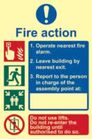 Fire action procedure - PHO 200 x 300mm 1.3 mm rigid Photoluminescent s/a board