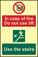 In case of fire Do not use lift Use the stairs - PHS 200 x 300mm Photoluminescent s/a label