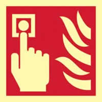 Fire alarm symbol - PHS 100 x 100mm Photoluminescent s/a label
