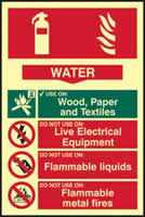 Fire extinguisher composite - Water - PHS 200 x 300mm Photoluminescent s/a label