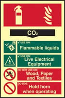 Fire extinguisher composite - CO2 - PHS 200 x 300mm Photoluminescent s/a label