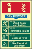 Fire extinguisher composite - Dry powder - PHS 200 x 300mm Photoluminescent s/a label