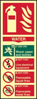 Fire extinguisher composite - Water - PHS 75 x 200mm Photoluminescent s/a label