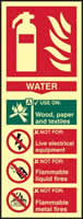Fire extinguisher Water - PHS 82 x 202mm Photoluminescent s/a label