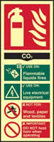 Fire extinguisher CO2 - PHS 82 x 202mm Photoluminescent s/a label