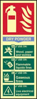 Fire extinguisher Dry powder - PHS 82 x 202mm Photoluminescent s/a label
