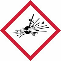 GHS explosive symbol - s/a vinyl - 50 x 50 mm label made from self-adhesive vinyl