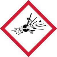 GHS explosive symbol - s/a vinyl - 100 x 100mm label made from self-adhesive vinyl