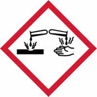 GHS corrosive symbol - s/a vinyl - 50 x 50 mm label made from self-adhesive vinyl
