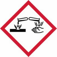 GHS corrosive symbol - s/a vinyl - 100 x 100 mm label made from self-adhesive vinyl