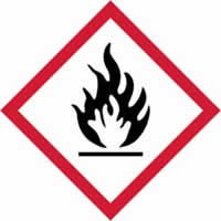 GHS flammable symbol - s/a vinyl - 50 x 50 mm label made from self-adhesive vinyl