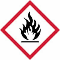 GHS flammable symbol - s/a vinyl - 100 x 100 mm label made from self-adhesive vinyl