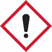 GHS irritant symbol - s/a vinyl - 50 x 50 mm label made from self-adhesive vinyl
