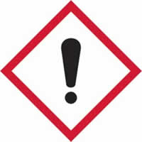 GHS irritant symbol - s/a vinyl - 100 x 100 mm label made from self-adhesive vinyl