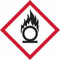 GHS oxidising symbol - s/a vinyl - 50 x 50 mm label made from self-adhesive vinyl