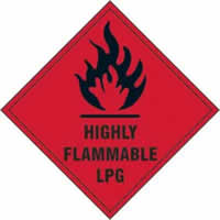 Highly flammable LPG - s/a vinyl - 100 x 100mm