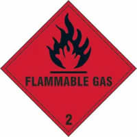 Flammable gas Class 2 - s/a vinyl - 100 x 100mm label made from self-adhesive vinyl