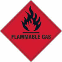 Flammable Gas - s/a vinyl - 200 x 200mm label made from self-adhesive vinyl