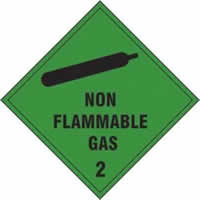 Non Flammable Gas 2 - s/a vinyl - 200 x 200mm label made from self-adhesive vinyl