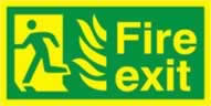 Fire exit running man left NHS - PHO 300x 150mm 1.3 mm rigid Photoluminescent s/a board
