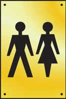 Unisex toilet graphic door plate - PSS 100 x 150mm