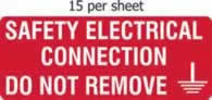 Safety electrical connection - s/a vinyl - 96 x 38mm sheet of 15 labels label made from self-adhesive vinyl