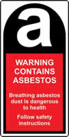 Warning Contains Asbestos 25 x 50mm Roll of 500 labels