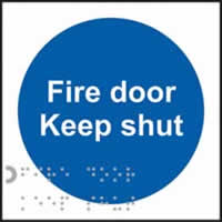 Fire door Keep shut - Tactile Sign 100 x 100 mm