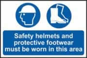 Safety helmets and protective footwear must be worn in this area sign 1mm rigid PVC self-adhesive backing 600 x 400mm