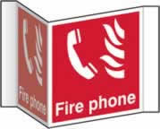 Fire phone Projection sign - rigid plastic sign - 200 mm face