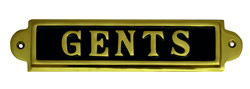 7 1 / 4 x 2 inch Brass Gents Sign