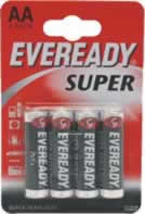 S4028 AA Eveready Super Zinic Batteries card of 4