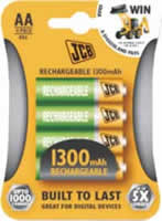 AA JCB 1300 mAh Rechargeable Batteries 4 pack