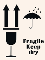 Fragile Keep Dry Stencil 190 x 300mm
