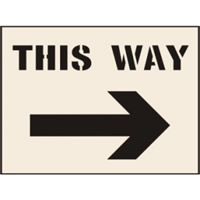 This Way Arrow Right Stencil 600 x 800mm