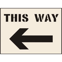 This Way Arrow Left Stencil 300 x 400mm