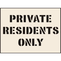 Private Residents Only Stencil 400 x 600mm