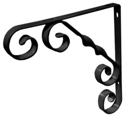 200 mm 8 inch Black Wrought Iron Scroll Bracket