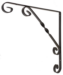 250 mm 10 inch Black Wrought Iron Scroll Bracket