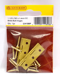 1 1 / 2 inch x 7 / 8 inch x 1.4 mm SC Medium Duty Solid Drawn Butt Hinges 1 pair
